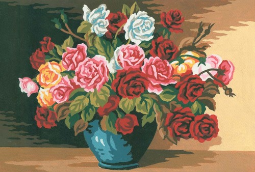 Needlepoint Canvas 22x30cm Elegant Roses