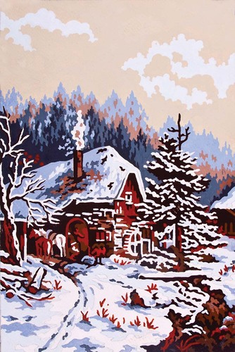 Needlepoint Canvas 22x30cm Snow Scene