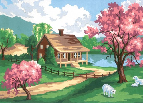 6186 Needlepoint Canvas 22x30cm Spring Scene