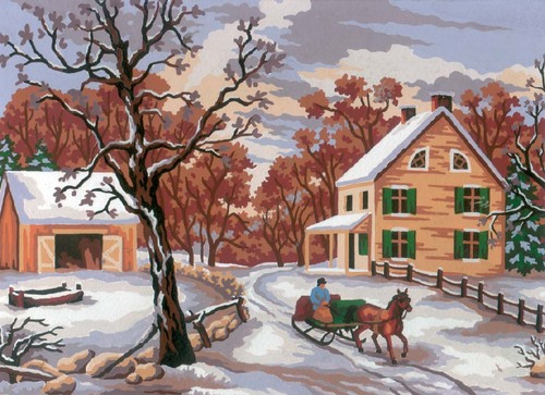 Needlepoint Canvas 22x30cm Winter Scene