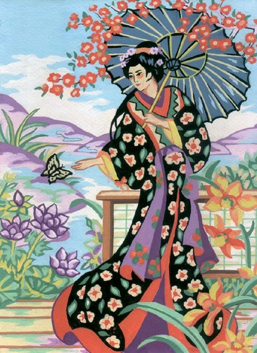 Needlepoint Canvas 22x30cm Geisha with Parasol