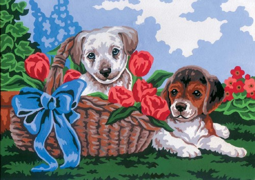 Needlepoint Canvas 22x30cm Puppies in a Basket