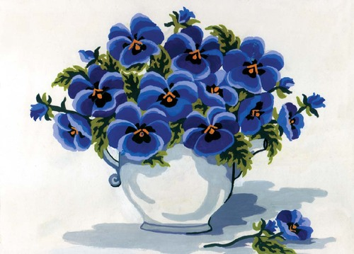Needlepoint Canvas 22x30cm Blue Pansies