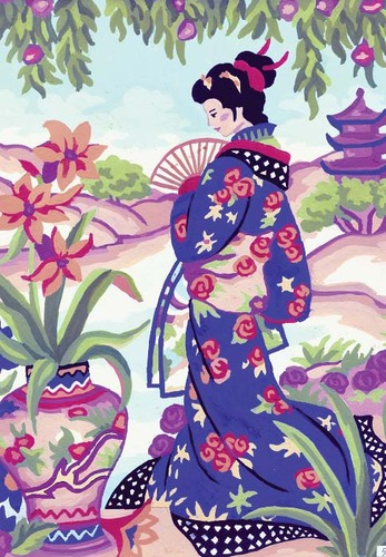 Needlepoint Canvas 22x30cm Geisha in Blue