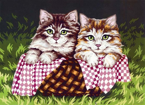 Needlepoint Canvas 22x30cm Kittens in a Basket