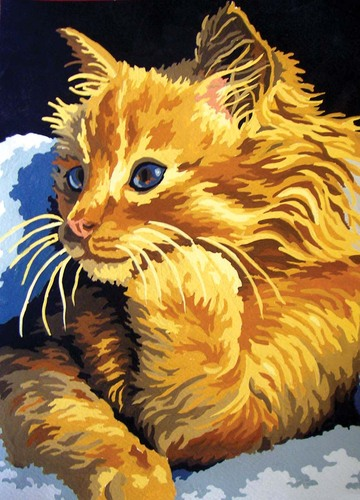 Needlepoint Canvas 22x30cm Golden Kitten