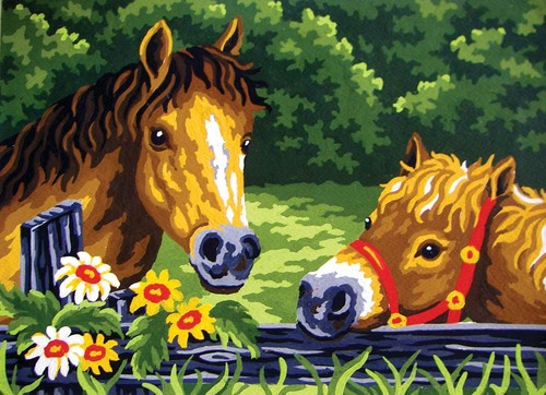 Needlepoint Canvas 22x30cm Curious Ponies
