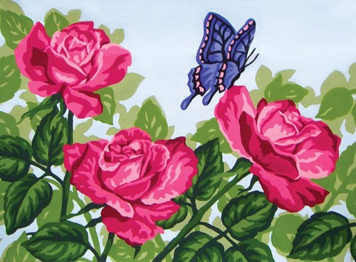 Needlepoint Canvas 22x30cm Pink Roses & Butterfly