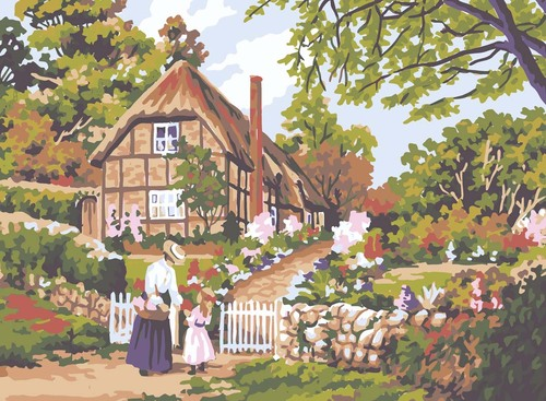 Needlepoint Canvas 22x30cm Cottage Gate