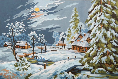 Needlepoint Canvas 22x30cm Moonlight Snow Scene