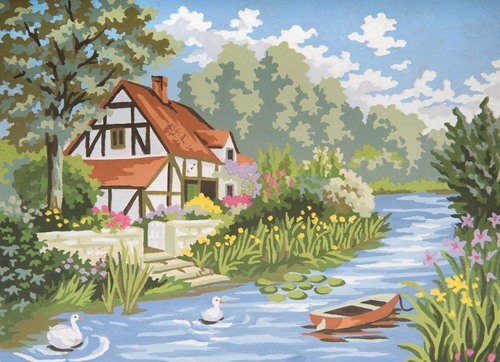 Needlepoint Canvas 22x30cm Cottage by the stream