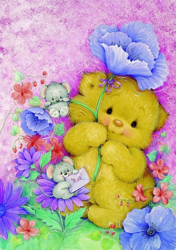 Needlepoint Canvas 22x30cm Teddy Hug