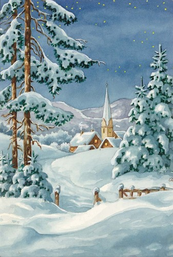 Needlepoint Canvas 22x30cm Snow Chapel