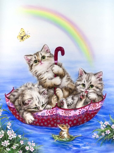 Needlepoint Canvas 22x30cm Rainbow Kittens
