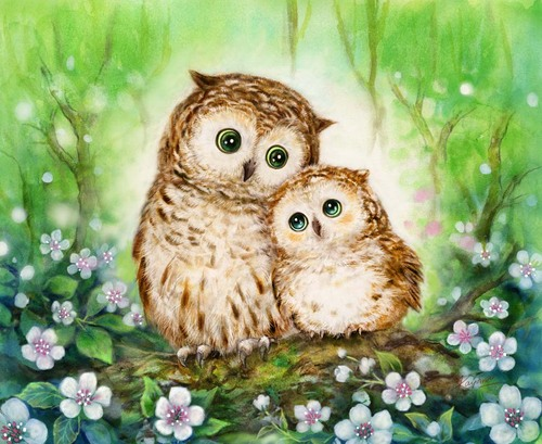 Needlepoint Canvas 22x30cm Mother & Baby Owl