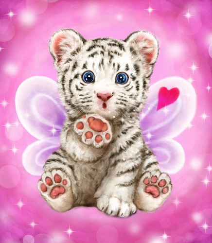 Needlepoint Canvas 22x30cm Baby Tiger Kiss