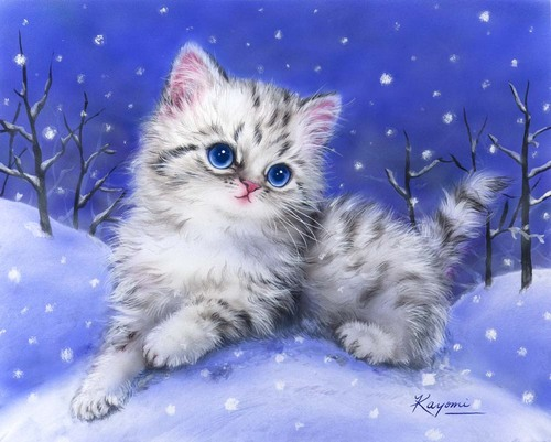 Needlepoint Canvas 22x30cm Kitten in the Snow