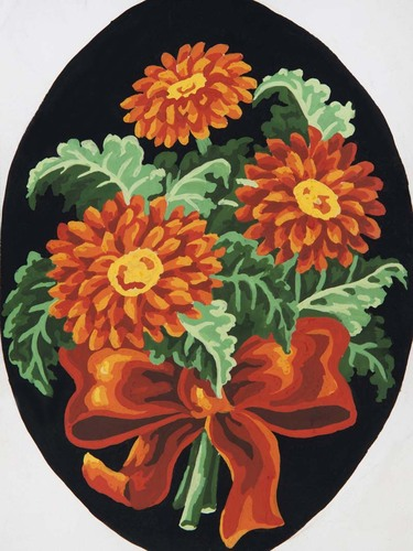 Needlepoint Canvas 18x24cm Rust Gerberas