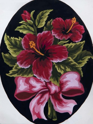 Needlepoint Canvas 18x24cm Hibiscus Bow
