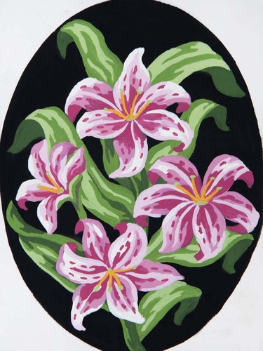 Needlepoint Canvas 18x24cm Pink Lillies