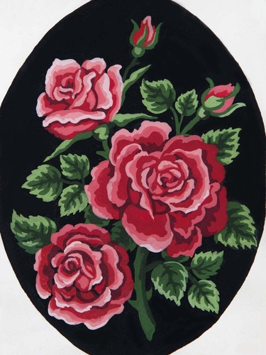 Needlepoint Canvas 18x24cm Red Rose Bouquet