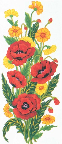 Needlepoint Canvas 21x49cm Poppies