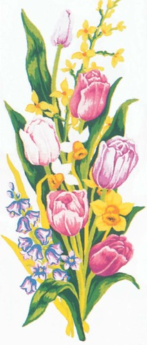 Needlepoint Canvas 21x49cm Tulips