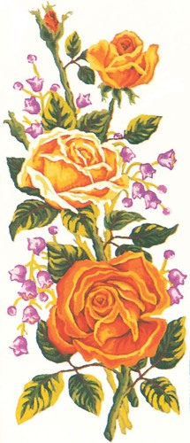 Needlepoint Canvas 21x49cm Yellow Roses