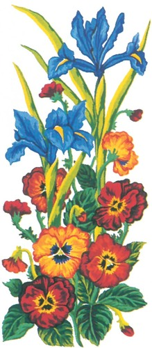 Needlepoint Canvas 21x49cm Pansies and Iris