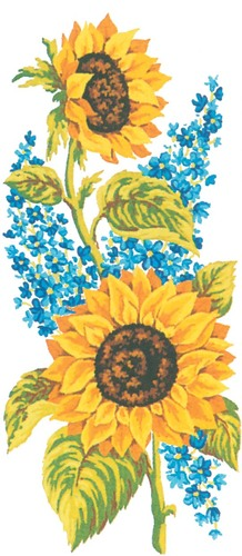 Needlepoint Canvas 21x49cm Sunflowers