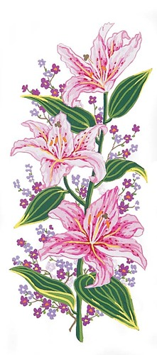 Needlepoint Canvas 21x49cm Pink Lillies