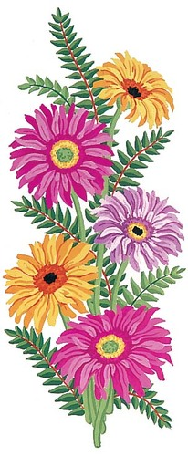 Needlepoint Canvas 21x49cm Gerberas