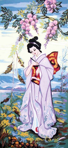 8051 Needlepoint Canvas 23x50cm Geisha in Spring