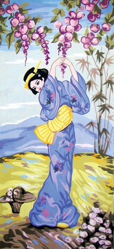 Needlepoint Canvas 23x50cm Geisha in Autumn