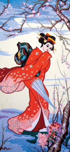 Needlepoint Canvas 23x50cm Geisha in Winter