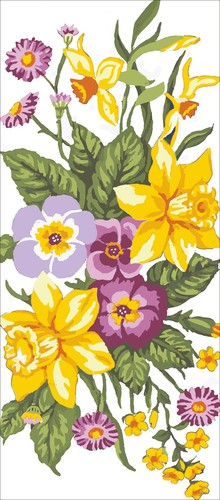 Needlepoint Canvas 23x50cm Daffodils