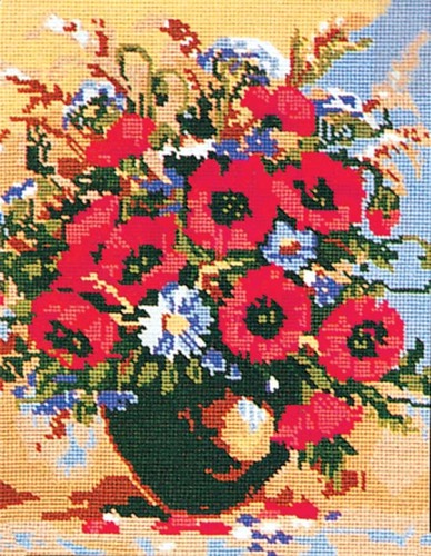 Needlepoint Canvas 30x40cm Poppies and Cornflowers