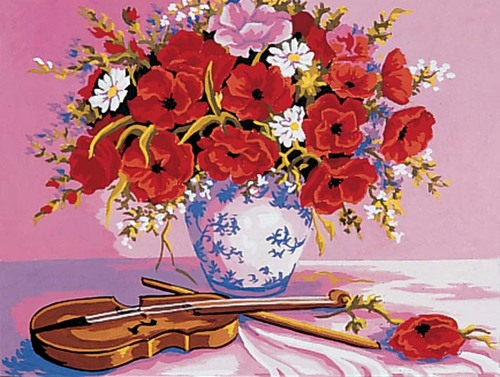Needlepoint Canvas 30x40cm Violin & Poppies