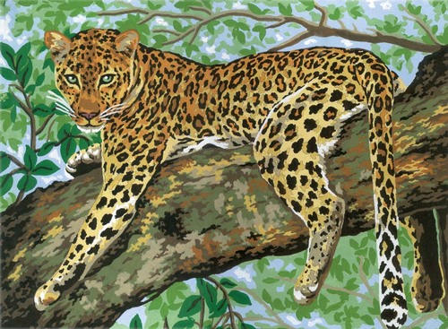 10359 Needlepoint Canvas 30x40cm Lazing Leopard