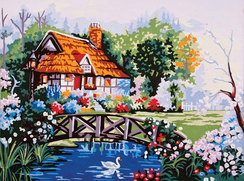 10380 Needlepoint Canvas 30x40cm Pond in the Garden