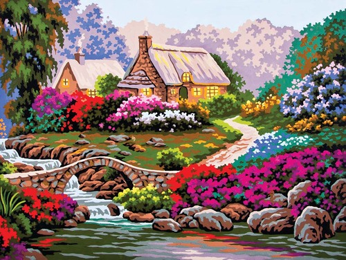 Needlepoint Canvas 30x40cm Garden by Old Stone Bridge