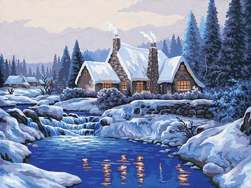 10383 Needlepoint Canvas 30x40cm Reflections in the Snow