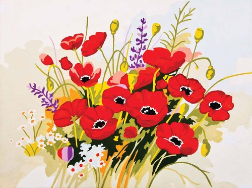Needlepoint Canvas 30x40cm Wild Poppies