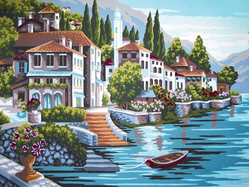 10392 Needlepoint Canvas 30x40cm Steps to the Lake
