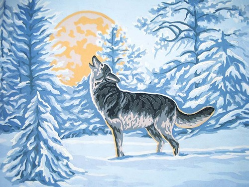 Needlepoint Canvas 30x40cm Moonlight Wolf