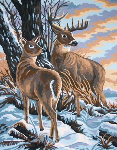 10419 Needlepoint Canvas 30x40cm Stag and Doe