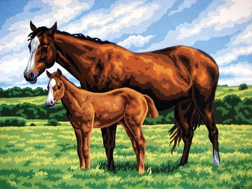 10423 Needlepoint Canvas 30x40cm Mare with Foal
