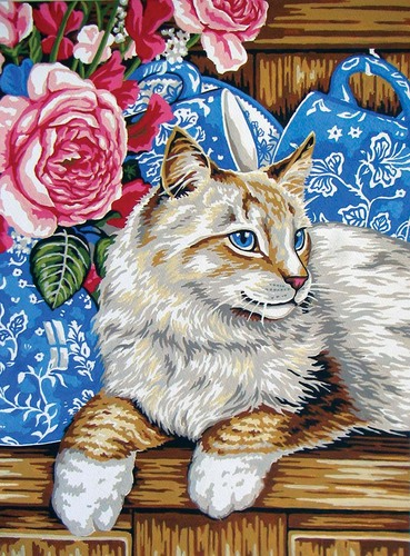 10437 Needlepoint Canvas 30x40cm Cat on the Shelf