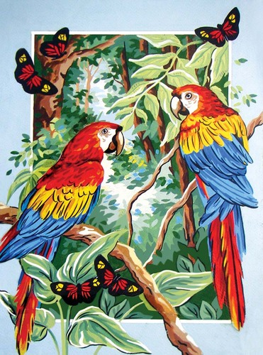 Needlepoint Canvas 30x40cm Tropical Parrots