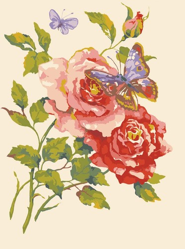Needlepoint Canvas 30x40cm Pink Roses and Butterfly